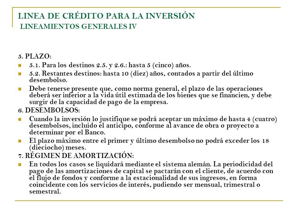 LINEA DE CRÉDITO PARA LA INVERSIÓN LINEAMIENTOS GENERALES IV