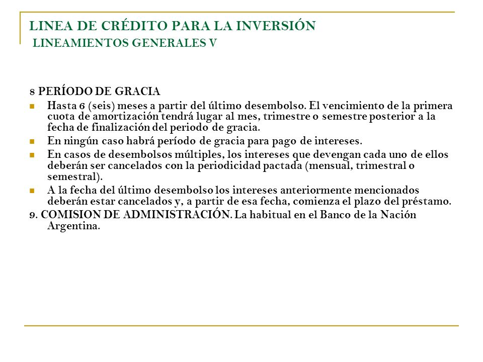 LINEA DE CRÉDITO PARA LA INVERSIÓN LINEAMIENTOS GENERALES V