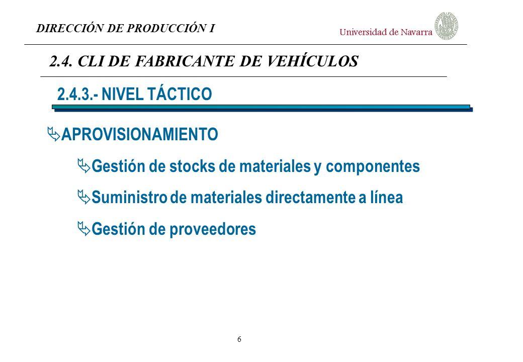 Gestión de stocks de materiales y componentes