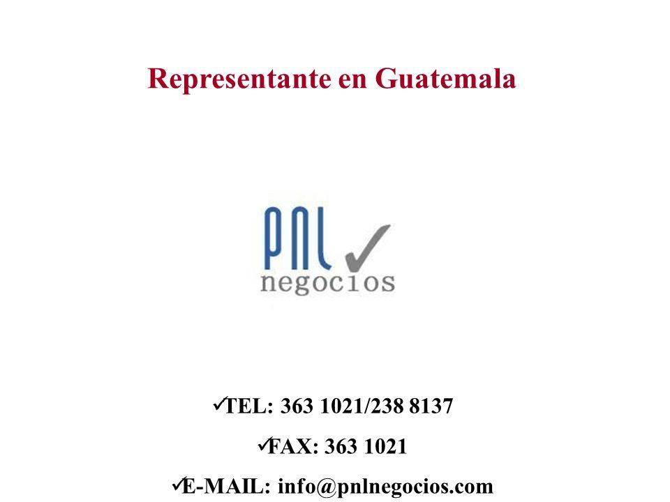 Representante en Guatemala E-MAIL: info@pnlnegocios.com