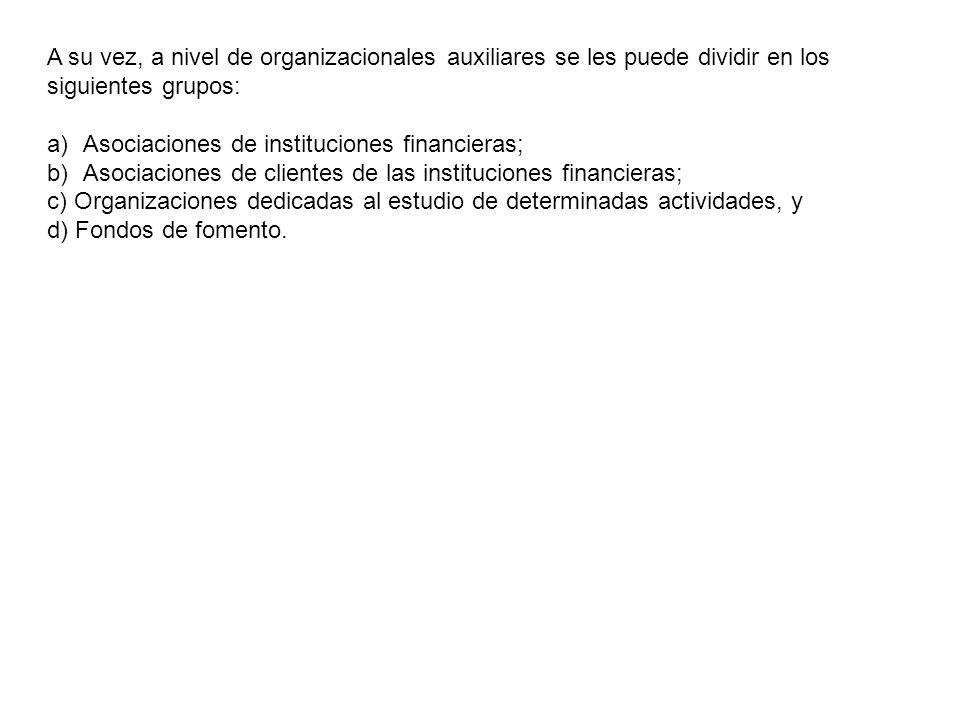 A su vez, a nivel de organizacionales auxiliares se les puede dividir en los siguientes grupos: