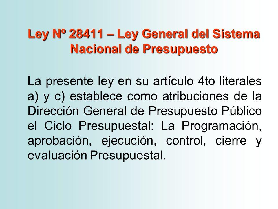 Ley Nº 28411 – Ley General del Sistema Nacional de Presupuesto