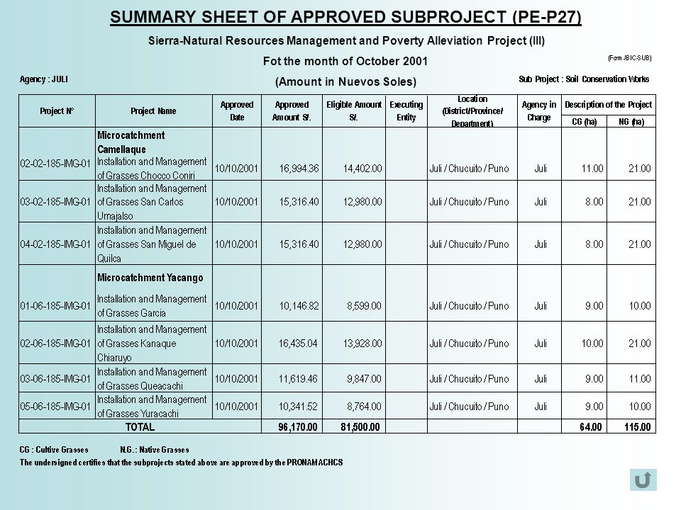 SUMMARY SHEET OF APPROVED SUBPROJECT (PE-P27)