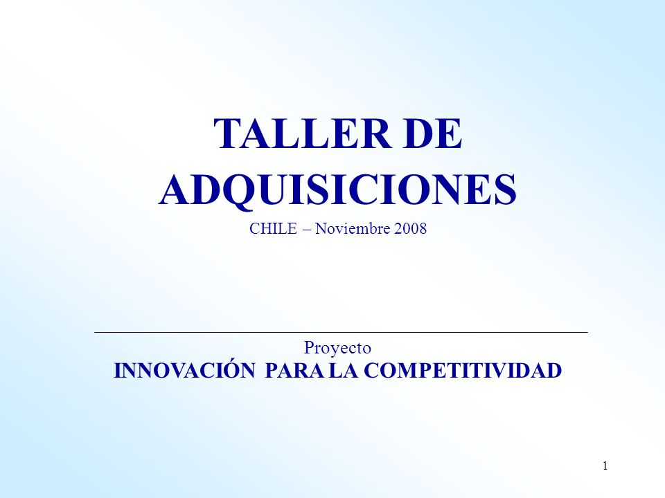 TALLER DE ADQUISICIONES INNOVACIÓN PARA LA COMPETITIVIDAD