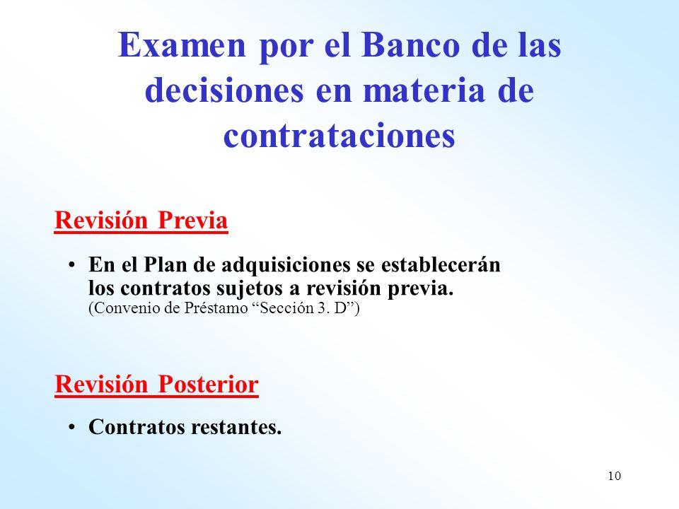 Examen por el Banco de las decisiones en materia de contrataciones