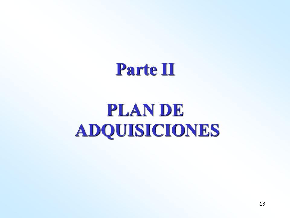 Parte II PLAN DE ADQUISICIONES