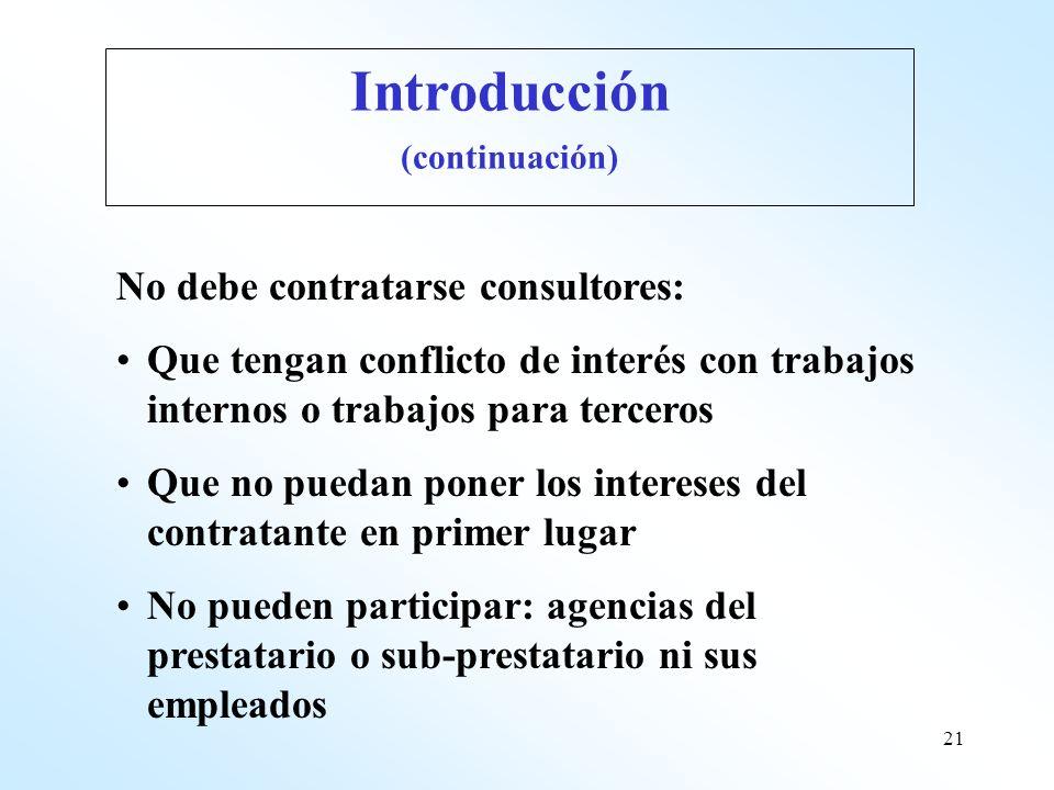 Introducción No debe contratarse consultores: