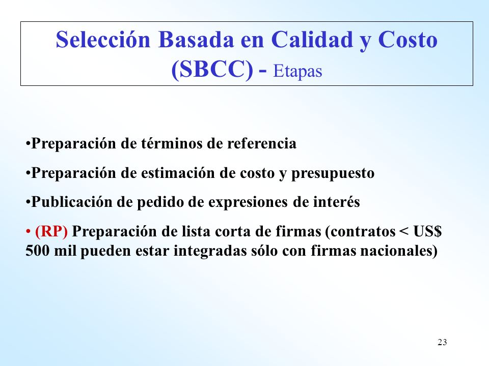 Selección Basada en Calidad y Costo (SBCC) - Etapas