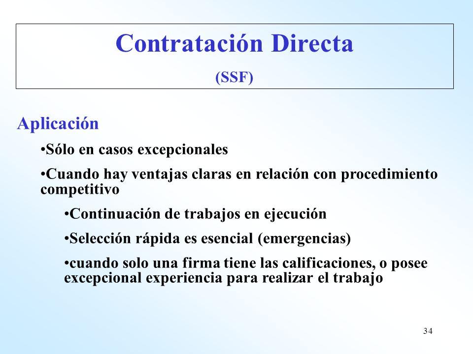 Contratación Directa Aplicación (SSF) Sólo en casos excepcionales