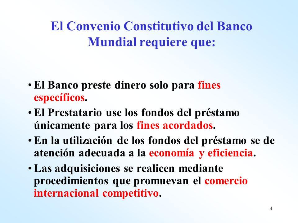 El Convenio Constitutivo del Banco Mundial requiere que: