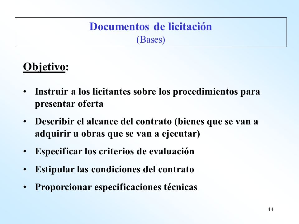 Documentos de licitación