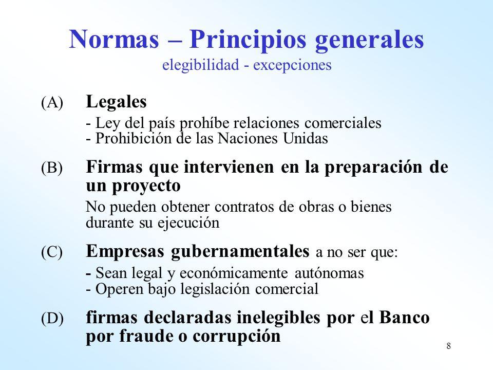 Normas – Principios generales elegibilidad - excepciones