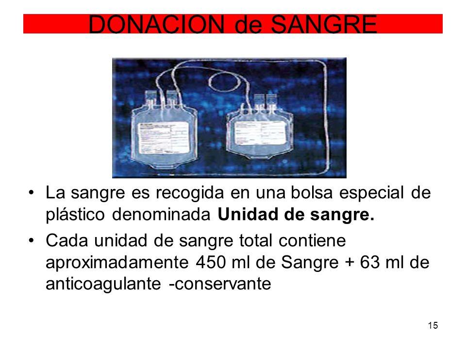 DONACION de SANGRE La sangre es recogida en una bolsa especial de plástico denominada Unidad de sangre.