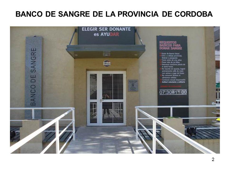 BANCO DE SANGRE DE LA PROVINCIA DE CORDOBA
