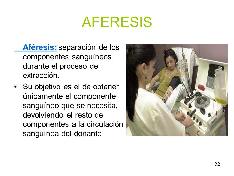 AFERESIS Aféresis: separación de los componentes sanguíneos durante el proceso de extracción.