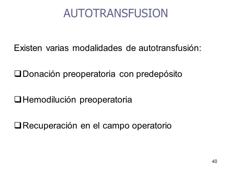AUTOTRANSFUSION Existen varias modalidades de autotransfusión: