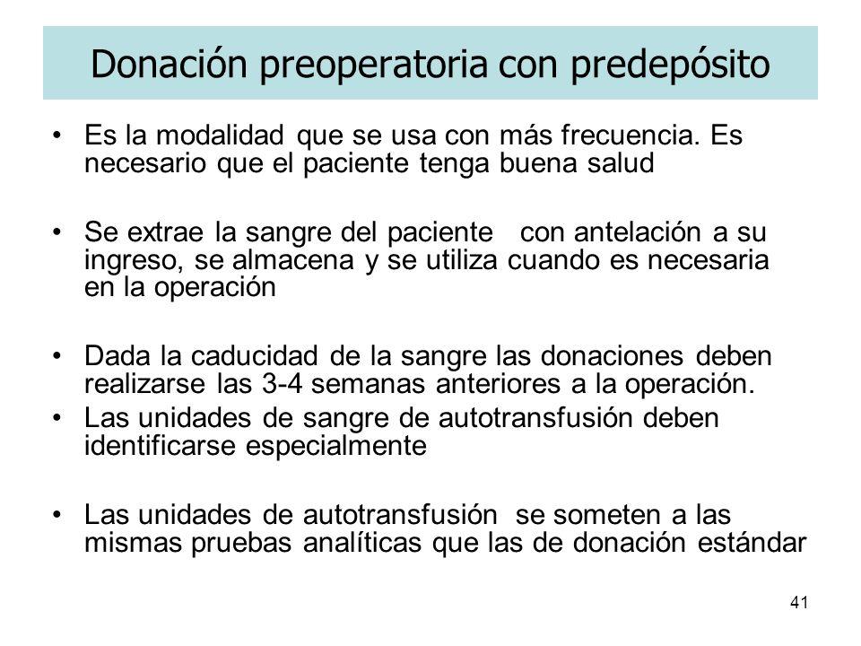 Donación preoperatoria con predepósito