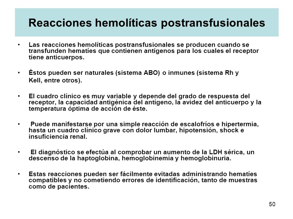 Reacciones hemolíticas postransfusionales