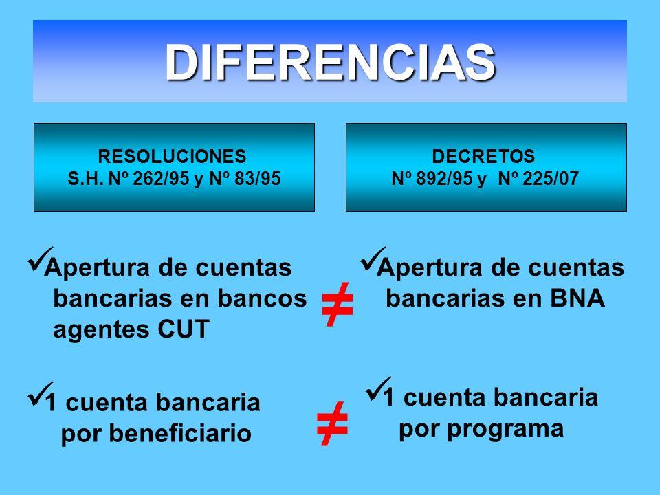 ≠ ≠ DIFERENCIAS Apertura de cuentas bancarias en bancos agentes CUT