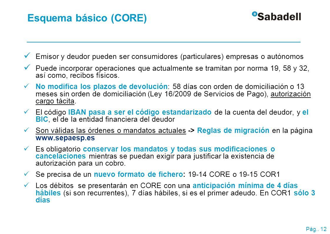 Esquema básico (CORE) Reglas de migración