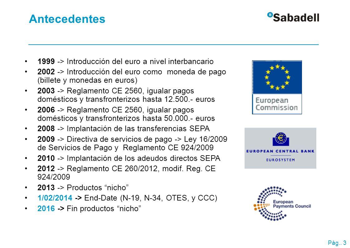 Reglamento CE 260/2012 Entró en vigor 30 de marzo 2012.