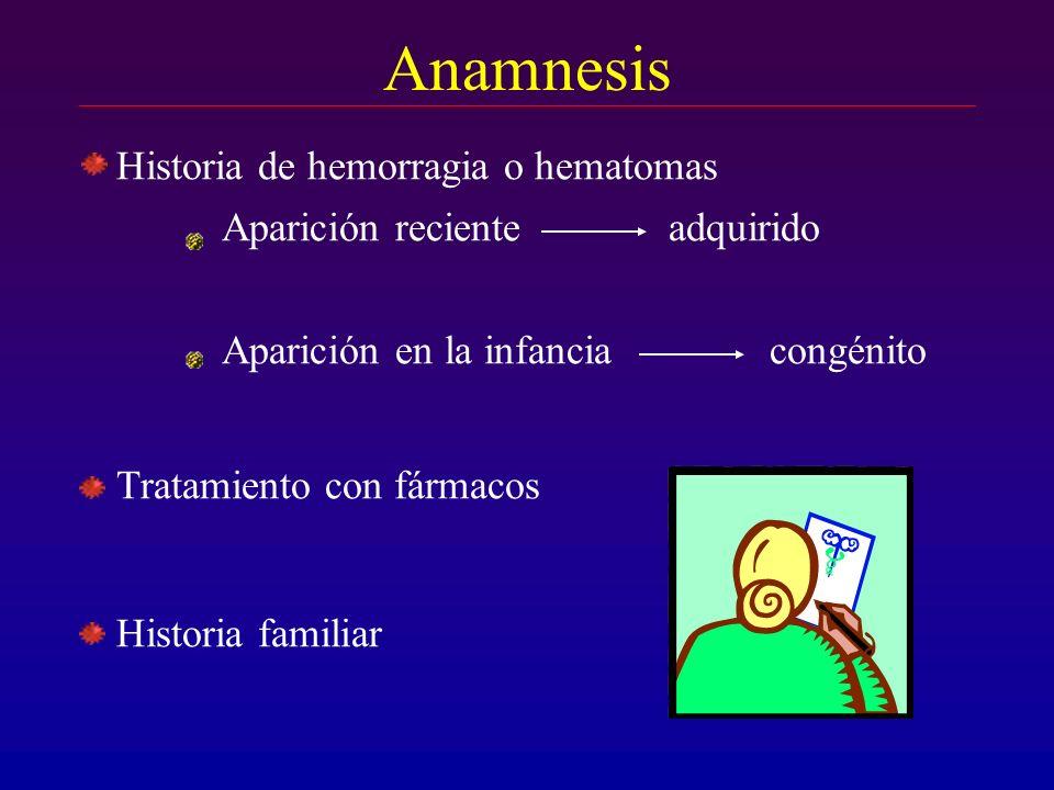 Anamnesis Historia de hemorragia o hematomas