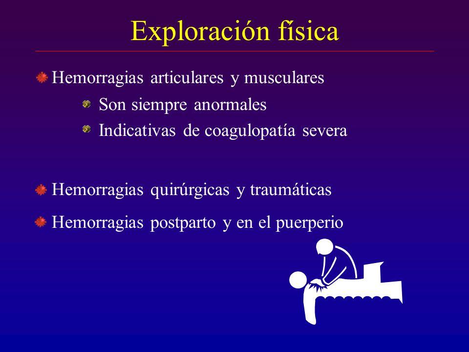 Exploración física Hemorragias articulares y musculares