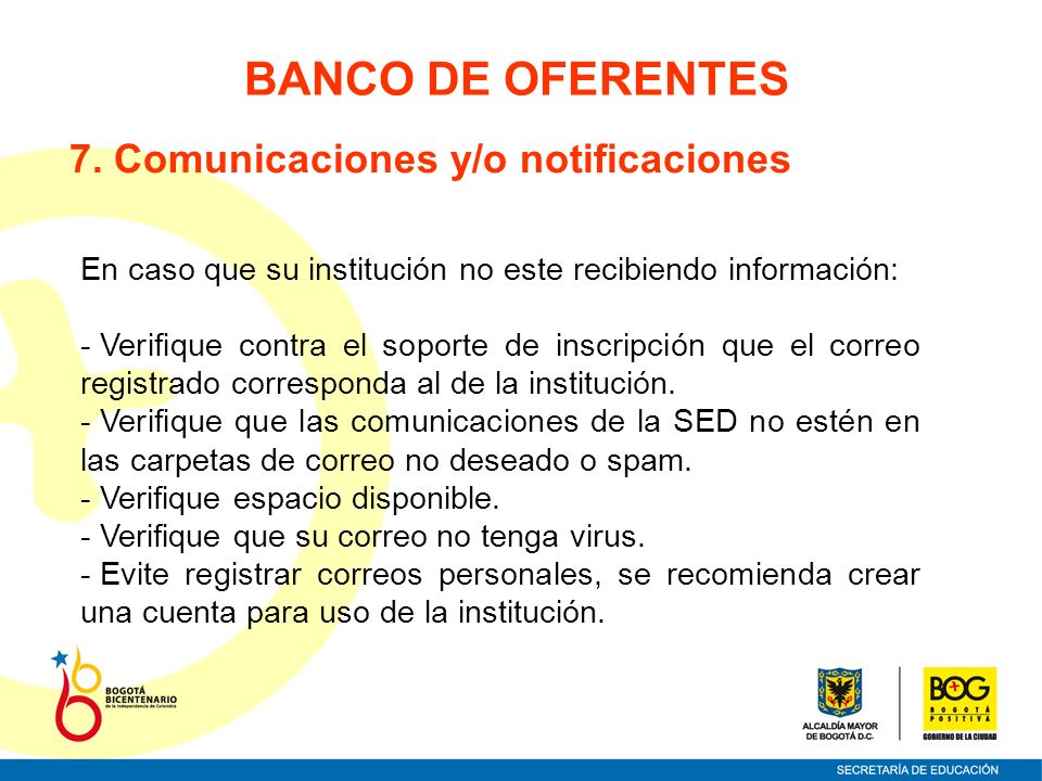 BANCO DE OFERENTES 7. Comunicaciones y/o notificaciones
