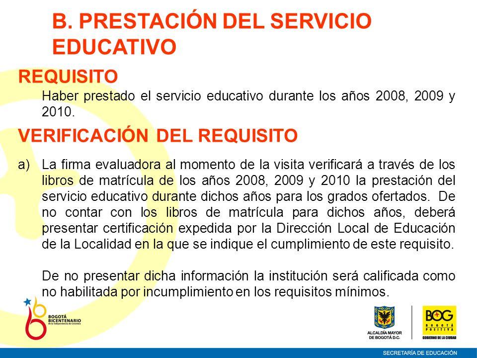 B. PRESTACIÓN DEL SERVICIO EDUCATIVO