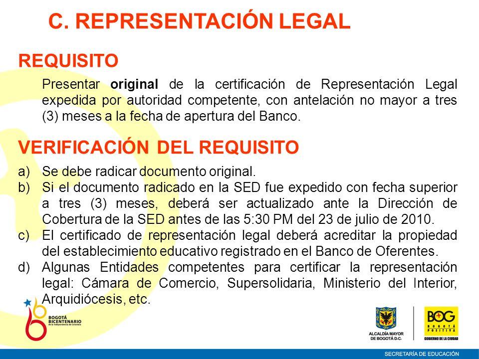 C. REPRESENTACIÓN LEGAL