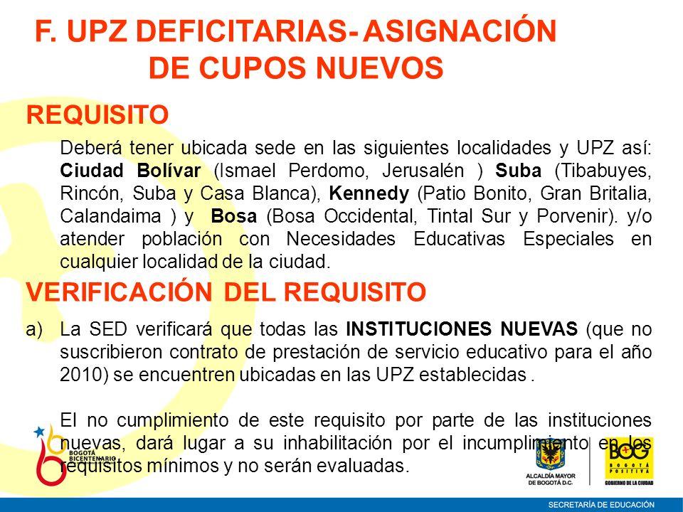 F. UPZ DEFICITARIAS- ASIGNACIÓN DE CUPOS NUEVOS