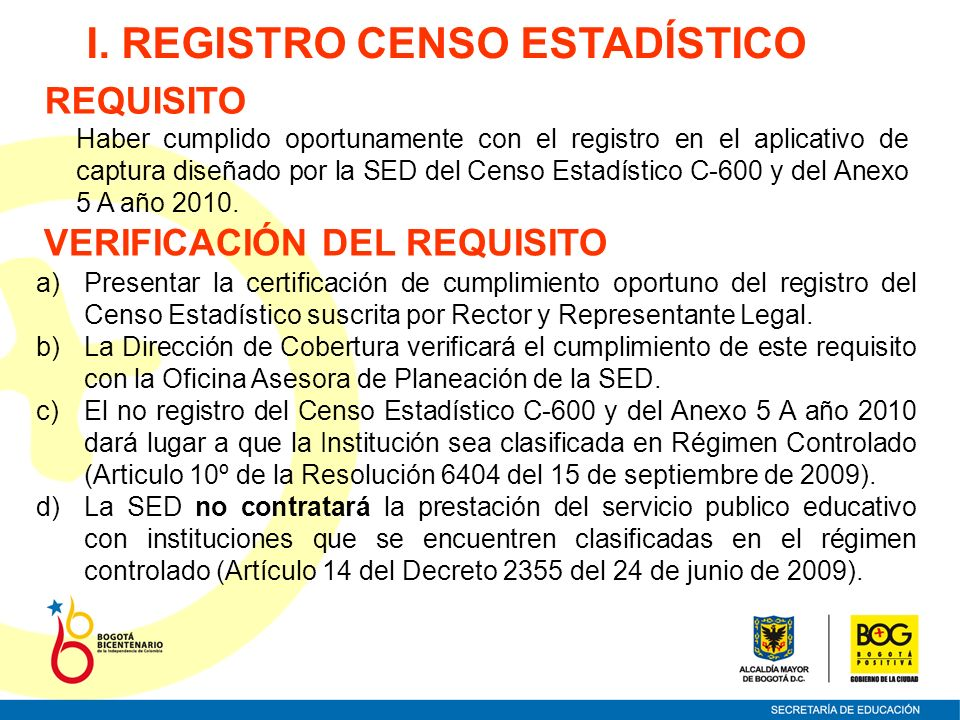I. REGISTRO CENSO ESTADÍSTICO