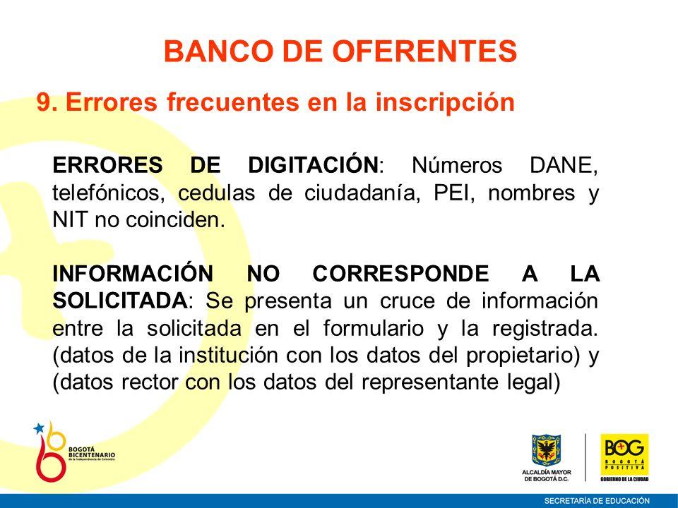 BANCO DE OFERENTES 9. Errores frecuentes en la inscripción