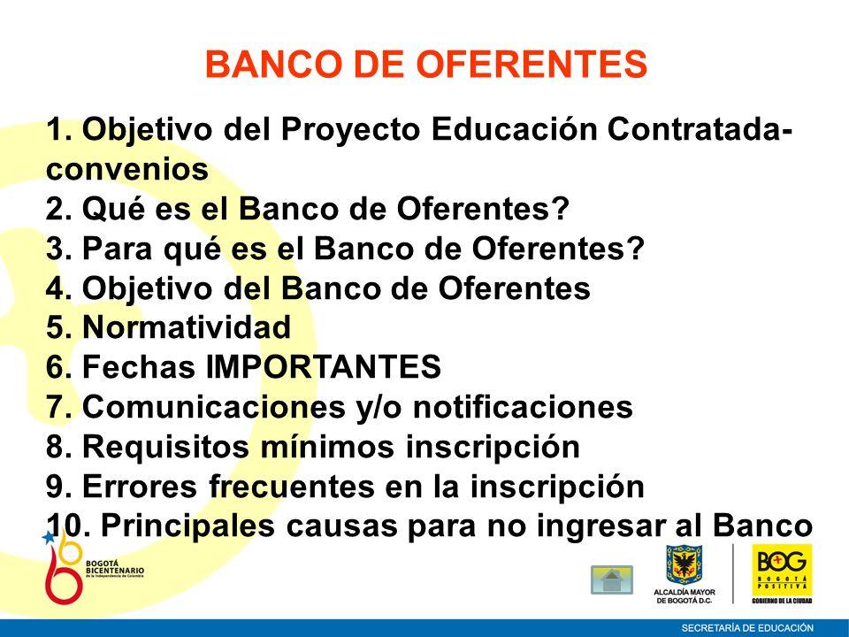 BANCO DE OFERENTES 1. Objetivo del Proyecto Educación Contratada-convenios. 2. Qué es el Banco de Oferentes