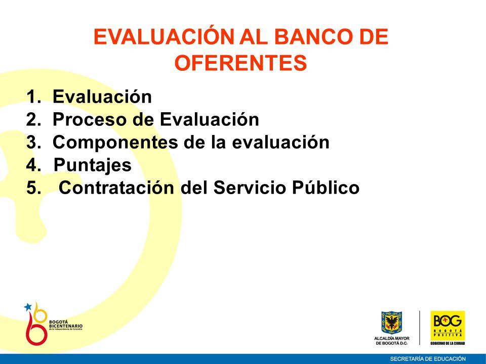 EVALUACIÓN AL BANCO DE OFERENTES