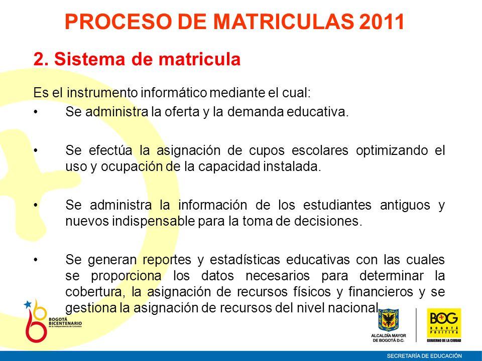 PROCESO DE MATRICULAS 2011 2. Sistema de matricula