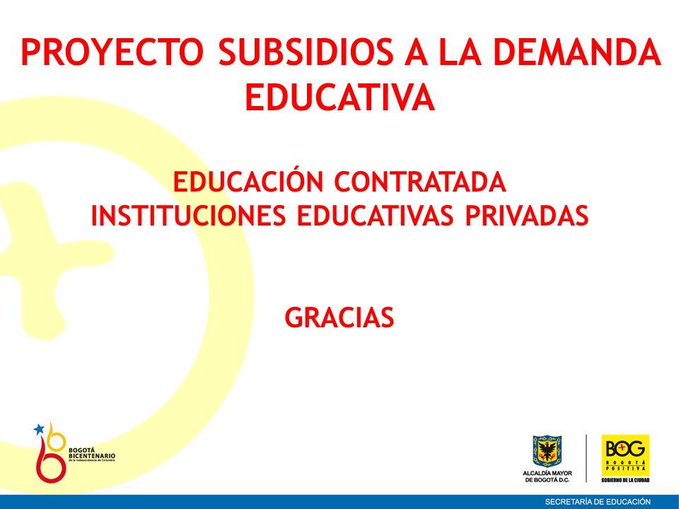 PROYECTO SUBSIDIOS A LA DEMANDA INSTITUCIONES EDUCATIVAS PRIVADAS