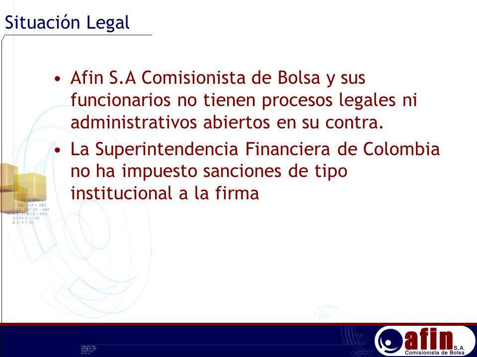 Situación Legal Afin S.A Comisionista de Bolsa y sus funcionarios no tienen procesos legales ni administrativos abiertos en su contra.