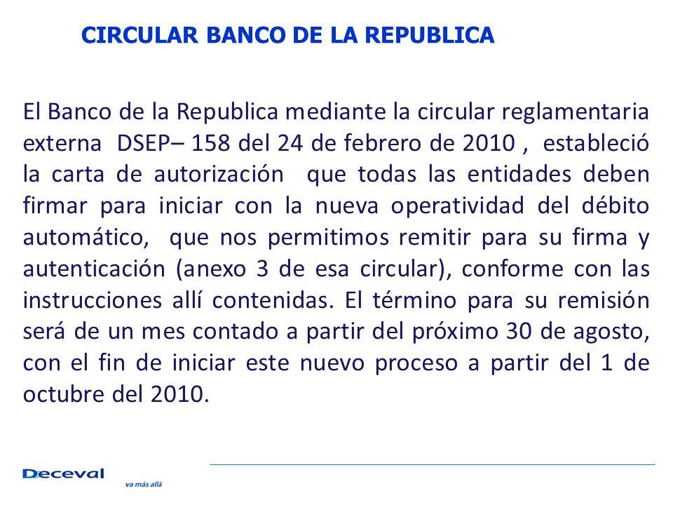 CIRCULAR BANCO DE LA REPUBLICA