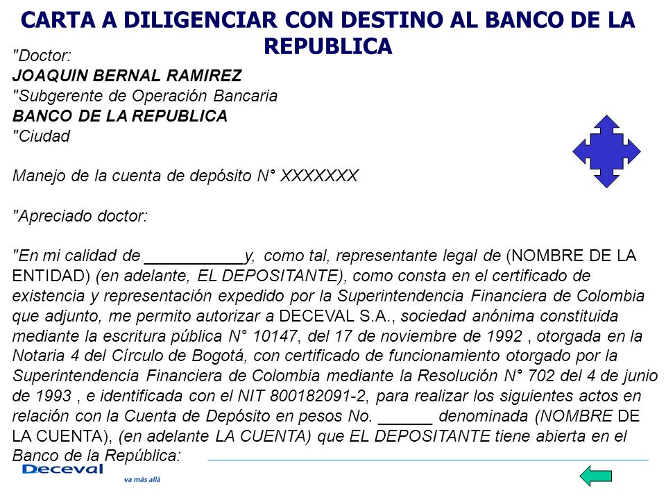 CARTA A DILIGENCIAR CON DESTINO AL BANCO DE LA REPUBLICA