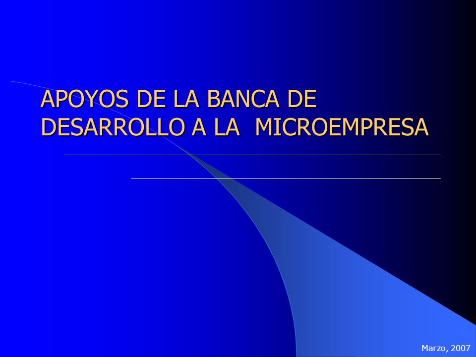 APOYOS DE LA BANCA DE DESARROLLO A LA MICROEMPRESA