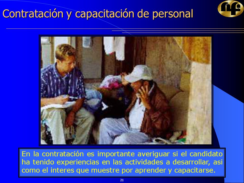 Contratación y capacitación de personal