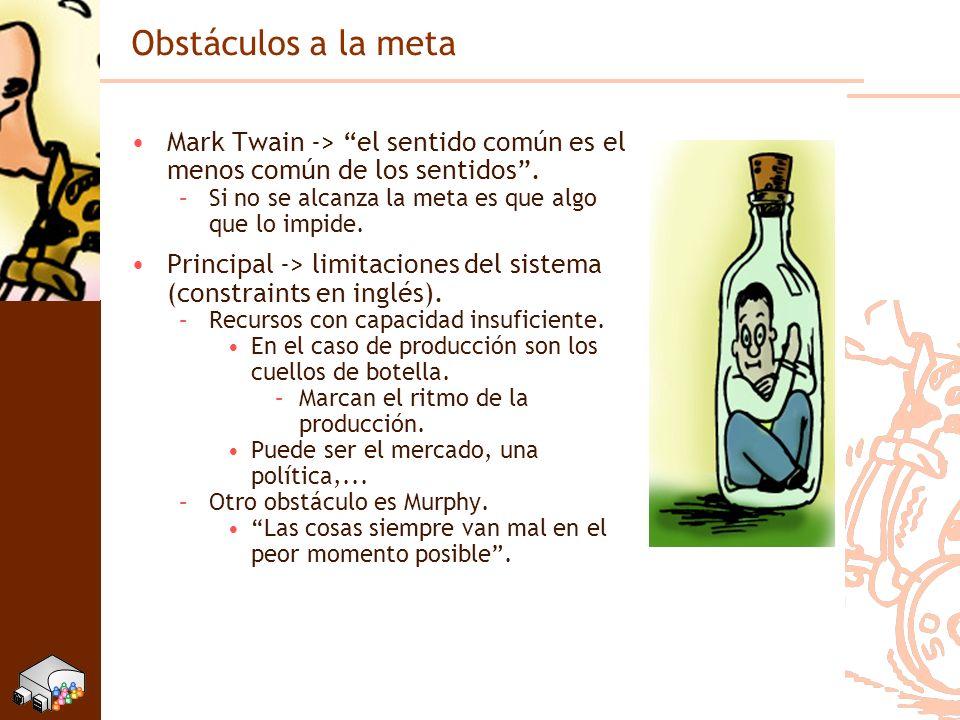 Obstáculos a la meta Mark Twain -> el sentido común es el menos común de los sentidos . Si no se alcanza la meta es que algo que lo impide.