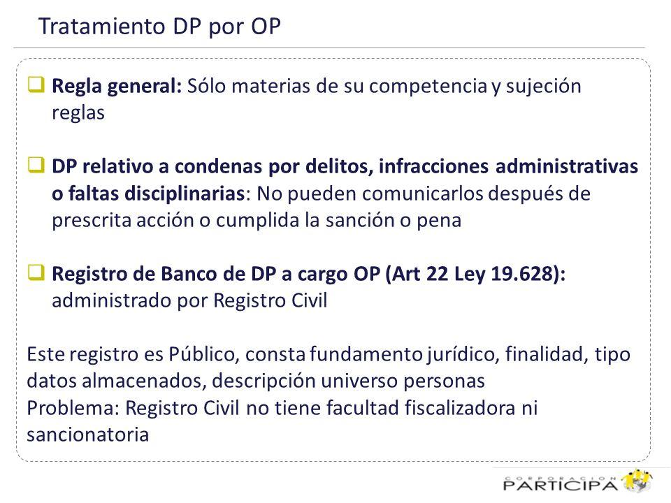 Tratamiento DP por OP Regla general: Sólo materias de su competencia y sujeción reglas.