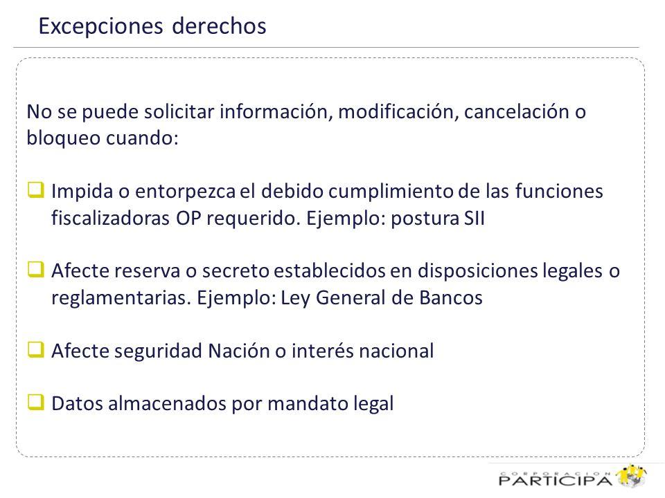 Excepciones derechos No se puede solicitar información, modificación, cancelación o bloqueo cuando: