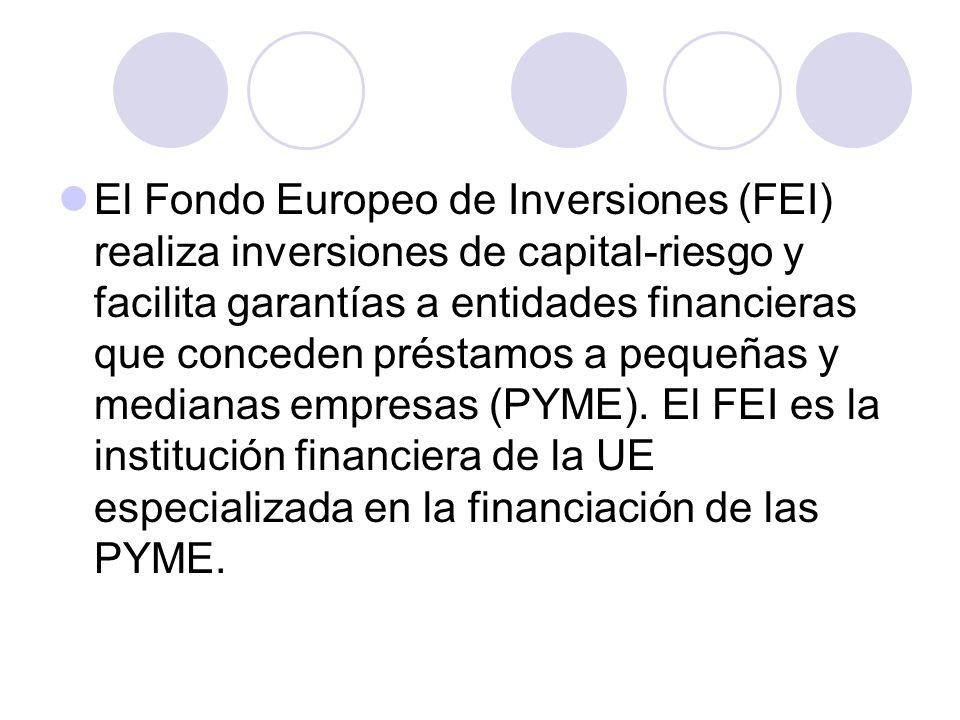 El Fondo Europeo de Inversiones (FEI) realiza inversiones de capital-riesgo y facilita garantías a entidades financieras que conceden préstamos a pequeñas y medianas empresas (PYME).
