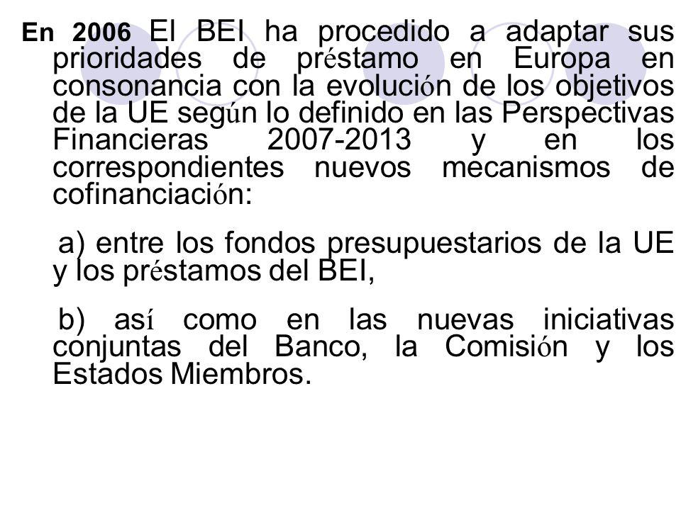 a) entre los fondos presupuestarios de la UE y los préstamos del BEI,