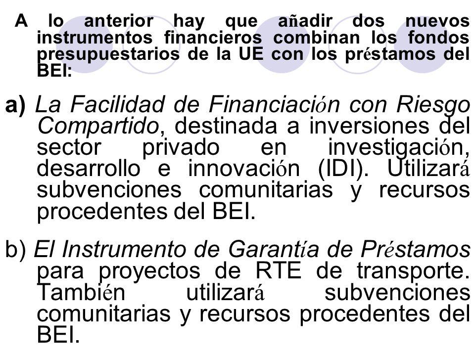 A lo anterior hay que añadir dos nuevos instrumentos financieros combinan los fondos presupuestarios de la UE con los préstamos del BEI: