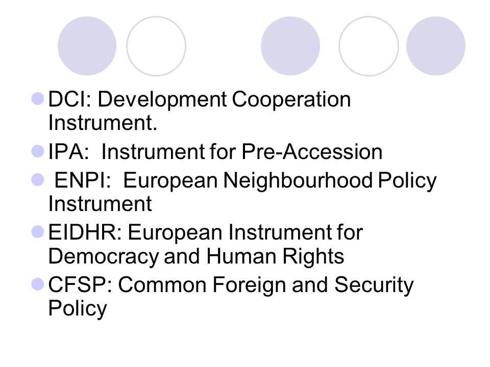 DCI: Development Cooperation Instrument.