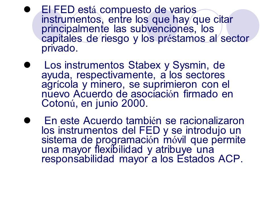 El FED está compuesto de varios instrumentos, entre los que hay que citar principalmente las subvenciones, los capitales de riesgo y los préstamos al sector privado.